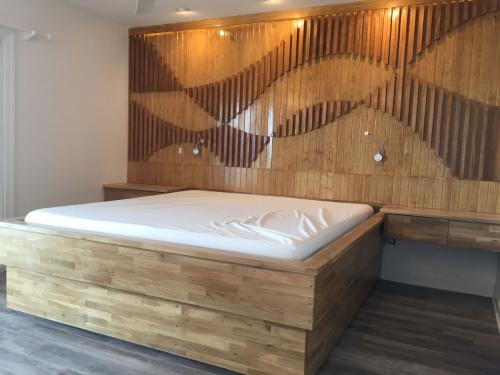 Shoreline custom bed frame wall wood